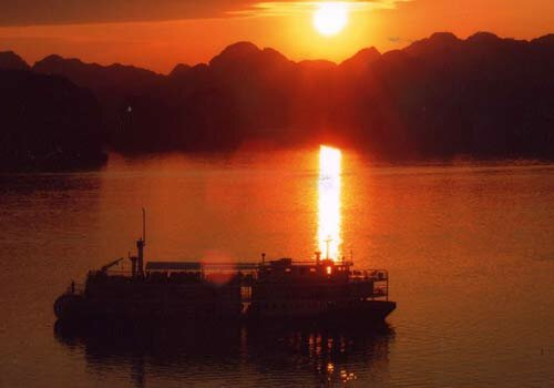 Ha Long Bay in sunset