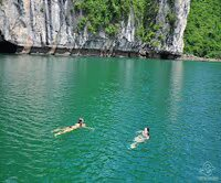 Swimming in Halong Bay photo